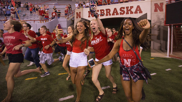 New students flow onto the field of Memorial Stadium during the annual Tunnel Walk, held Aug. 21.
