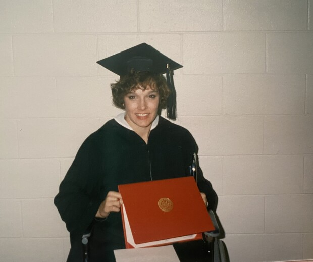 Jill Flagel is pictured during her college graduation in 1988.