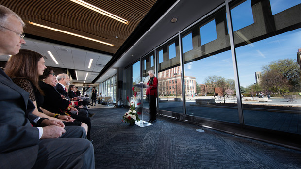 Nancy Busch, dean of the University Libraries, talks during the dedication ceremony in UNL's new Adele Coryell Hall Learning Commons.
