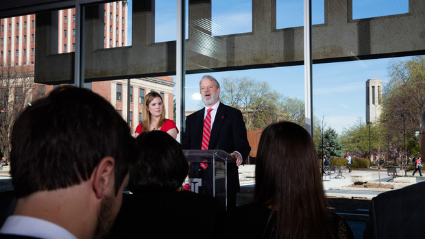 David Hall (right) and his daughter, Rebecca, deliver remarks during the dedication of UNL's new Adele Coryell Hall Learning Commons. David is Adele Coryell Hall's son.