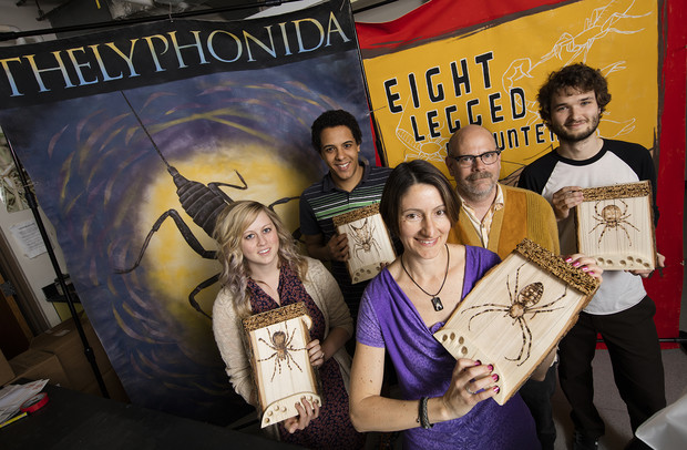 From left: Alissa Anderson, Rowan McGinley, Eileen Hebets, Pawl Tisdale and Colton Watts. With the help of Anderson, McGinley, Watts and other arachnologists, Hebets will present her Eight-Legged Encounters exhibit at the USA Science and Engineering Festival in Washington, D.C. Tisdale, a Lincoln-based artist, created posters and designed materials for the exhibit.