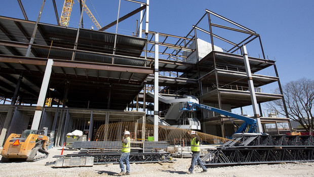 Construction continues on UNL's new CBA building at 14th and Vine streets.