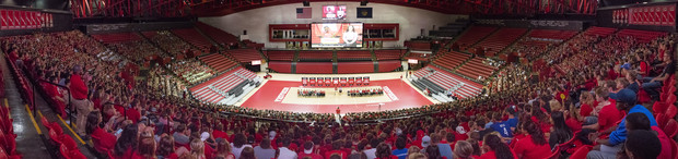 Panorama taken during New Student Convocation on Aug. 19 in the Devaney Sports Center.
