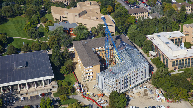 Aerial view of the new East Campus residence hall under construction.