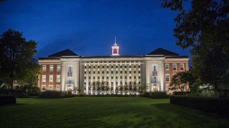 Nebraska's Love Library at night