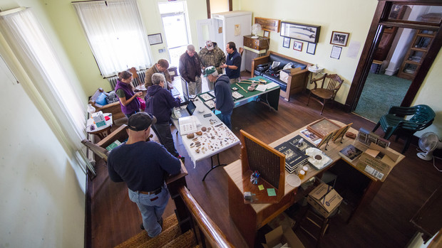 The lobby of Mullen's Commercial Hotel, which now houses the Hooker County Historical Society, was the site for an Artifacts Roadshow put on by Matt Douglass and the U.S. Forestry Service.