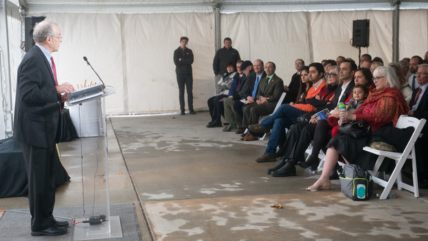 Harvey Perlman talks about Prem Paul during the Nov. 22 ceremony, which was held in a tent outside the recently renamed Prem S. Paul Research Center at Whittier School.