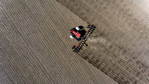 Aerial shot of a red combine rolling across a field during harvest.
