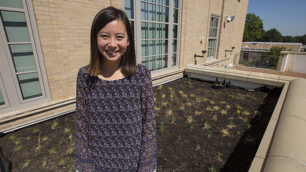 Kylie Tucker, a junior fisheries and wildlife major, led a project to create a green roof off a balcony area at the Rec and Wellness Center on East Campus.