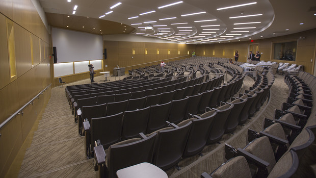 Classrooms inside the College of Business include a 385-seat auditorium, which is the largest classroom space on campus.