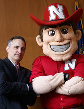Richard Moberly, show here with Herbie Husker, has served on the Nebraska Law faculty since 2004.