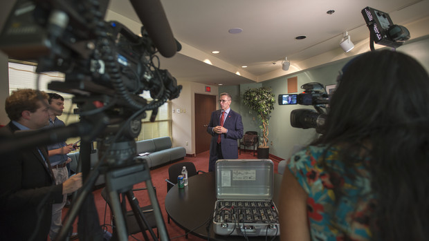 Chancellor Ronnie Green talks to media following the Sept. 19 State of the University address.