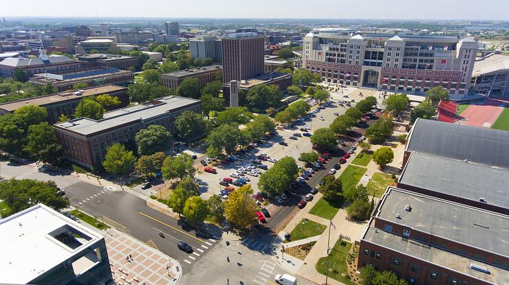The Memorial Loop Road, looking southwest toward Memorial Stadium from the corner of 14th and Vine streets.