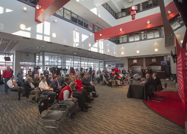 Reporters ask questions during Nebraska's Oct. 15 announcement that Bill Moos has been hired as director of athletics.