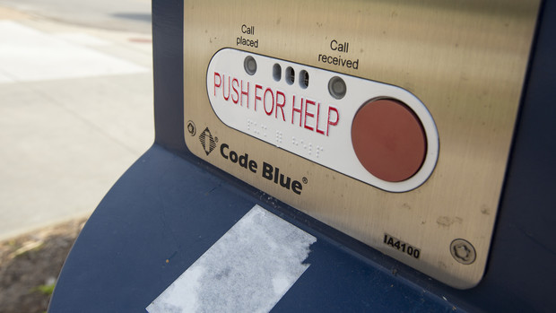 The blue emergency phones connected directly to 911 operators by the push of a button. The phones were installed primarily in the early 1990s.