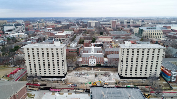 The university skyline will change Dec. 22 with the implosion of Cather (right) and Pound halls. The 13-story towers were Nebraska's first high-rise residence halls.