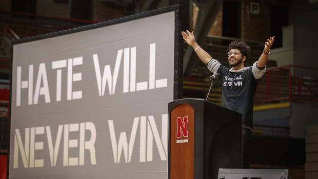 "Alex Chapman talks during the student-led ""Hate Will Never Win"" rally at the Coliseum on Feb. 14."