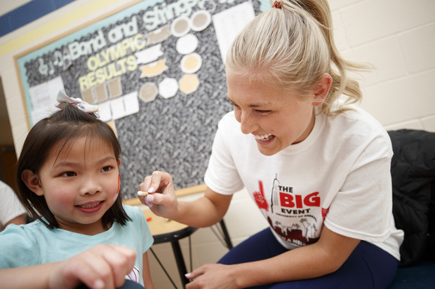 Madison Blum, Beatrice, Nebraska, does face painting at the Campbell Elementary School Carnival during the Big Event. April 7, 2018.