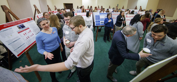 Nebraska undergraduates discuss their research with state senators during the 2018 Spring Research Fair. The 2019 event will include the third-year students have presented their work to legislators.