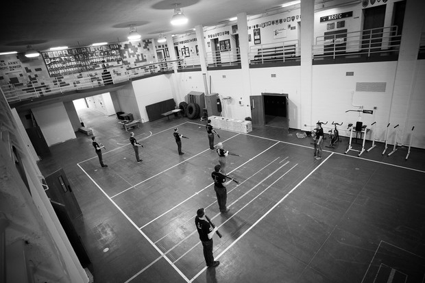 Nebraska's Pershing Rifles drill team practices in the Military and Naval Science Building. The team is open to all current students, including civilians, U.S. military service men and women and participants in ROTC programs.