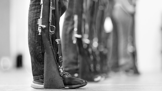 Members of the Pershing Rifles drill team line up during a practice session. The team plans to perform during campus events in the 2018-19 academic year.