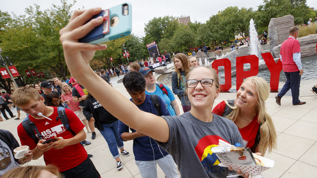 """Huskers Taylor Eickhoff and Ali Bartels shoot a selfie during the """"In Our Grit, Our Glory"""" brand launch on Aug. 30."""