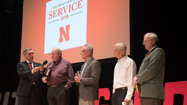 Chancellor Ronnie Green interviews faculty who earned honors for 45-plus years of service during the 2018 Service Awards ceremony in Kimball Hall. The 2019 event is Sept. 18 and is at the Coliseum.