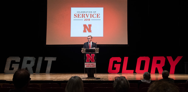 Chancellor Ronnie Green addresses the nearly 300 faculty and staff who attended the Celebration of Service in Kimball Recital Hall on Sept. 25.
