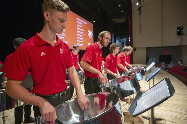 Nebraska Steel, a student steel drum band in the School of Music, performs prior to the start of the Celebration of Service on Sept. 25 in Kimball Recital Hall.