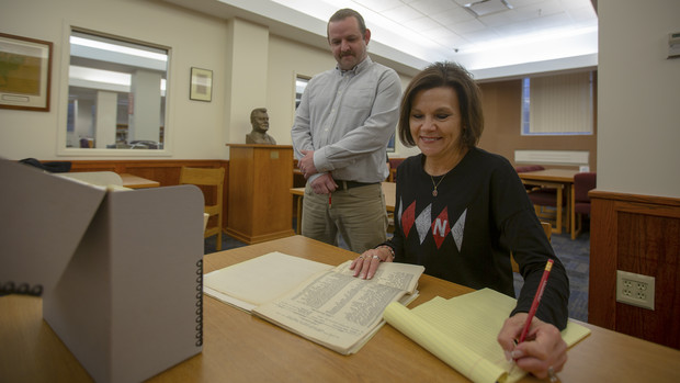 Nebraska's Cathy Urban and Josh Caster used student records and resources in the University Archives and Special Collections to identify students who served in World War I. The names are featured in a new memorial within Nebraska's Memorial Stadium.