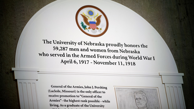 Detail of a new plaque celebrating the service of World War I veterans, including Gen. John J. Pershing.