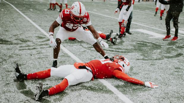 Huskers celebrate a 9-6 victory over Michigan State during Senior Day in Memorial Stadium on Nov. 17.