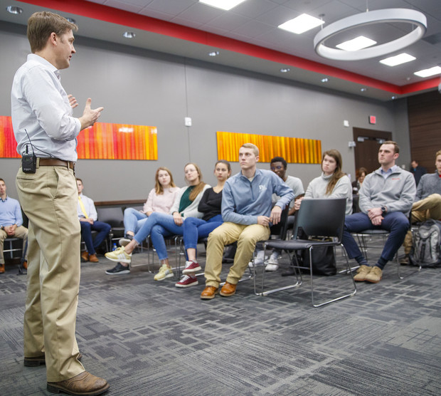 Sen. Ben Sasse talks with members of the Association of Students of the University of Nebraska during his Feb. 11 visit to campus.