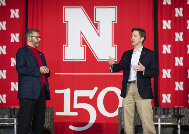 "Chancellor Ronnie Green (left) and Sen. Ben Sasse took centerstage to begin the Feb. 11 conversation at the Coliseum. The event theme was, ""Why Don't We Get Along? How Huskers Can Change the Future."""