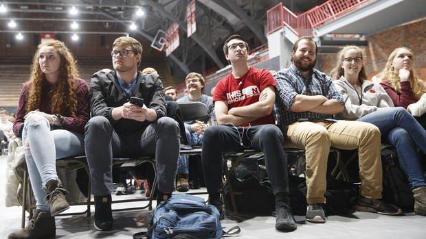 Huskers listen and react during the conversation with Sen. Ben Sasse in the Coliseum. The event opened the university's Charter Week celebration.