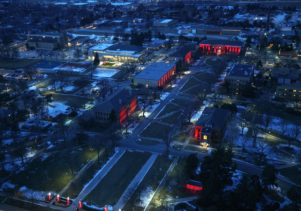 The mall on East Campus sparkles for the Glow Big Red event.