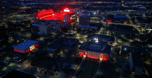City Campus building shine during the Glow Big Red event on Feb. 14.
