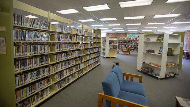 Other popular Media Services items — including movies (left) and board games are available for checkout in the second floor link of Love Library. The area also features the library's graphic novel collection.