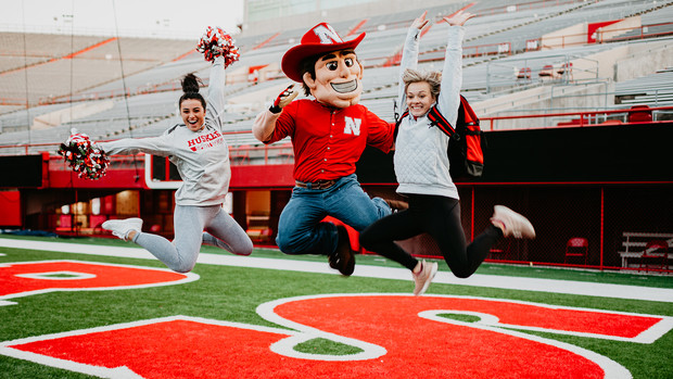 Herbie Husker practices up to six hours each week with with the cheer squad. As the nexus of Big Red spirit, Herbie also attends a variety of sporting events and special appearances each week.