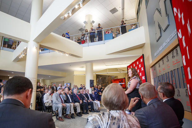 Delaney Bachman, a senior chemical engineering major, addresses the crowd during the Sept. 16 announcement of the naming of Nebraska Engineering's Kiewit Hall. When complete, the building will be used primarily for student instruction and the home to the Lincoln-based construction management program.