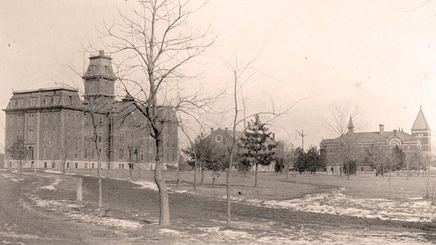 Some of the earliest buildings on campus were (from left) University Hall (1869-1948), Grant Memorial Hall (1887-1966) and old Chemistry Laboratory (1885-1963).