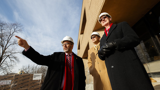 Chancellor Ronnie Green (left) points out the C.Y. Thompson Library renovation to Ted Carter (right) as they and Mike Boehm (center), vice chancellor of the Institute of Agriculture and Natural Resources, toured East Campus on Jan. 16.