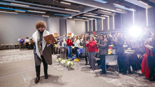 Ruby Bridges receives a standing ovation after speaking on her experiences as one of the first black children to attend an all-white school in New Orleans. Bridges was the keynote speaker during the university's MLK Week observance.