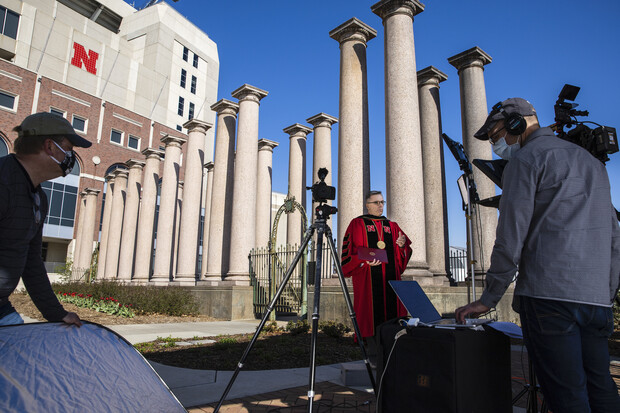 Chancellor filming commencement