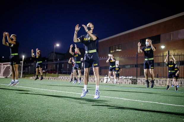 Army ROTC cadets got a jump on the first in-person instruction day of the fall 2020 semester with a 5:45 a.m. drill on the Mabel Lee Fields.