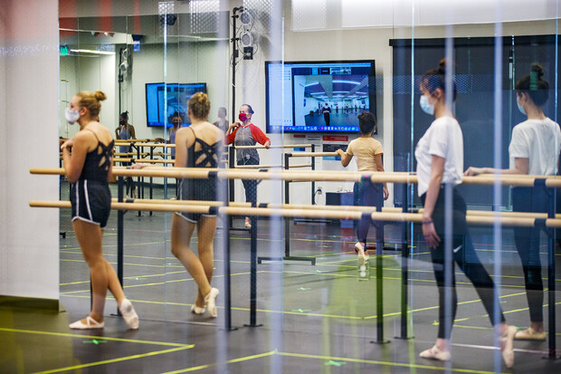 Lynne Nevin leads a ballet class in the Johnny Carson Center dance studio on the first day of fall 2020 instruction. The dance program moved into renovated space in the Carson Center in fall 2019.