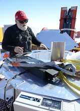 During December testing of the drill, Frank Rack explains the operation of the drill's UV collar used ot decontaminate hoses and cables to be deployed downhole.