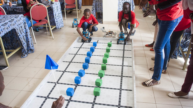 Students prepare to race robots during the third and final day of Sidy Ndao's robotics camp, held in Dakar, Sengal, in March 2015.