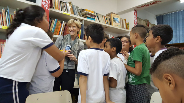 Susan Sheridan visits a school in Sao Paulo, Brazil, on a trip marking the start of a new UNL-Brazil early childhood research partnership. Sheridan and other UNL faculty members visited schools and child care centers prior to the UNL-Brazil working meeting May 18-19.