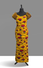 King's Chair Dress Form, introduced in 1980, manufactured by Vlisco, Netherlands; Dutch Wax Block on cotton, 48 x 12 inches.